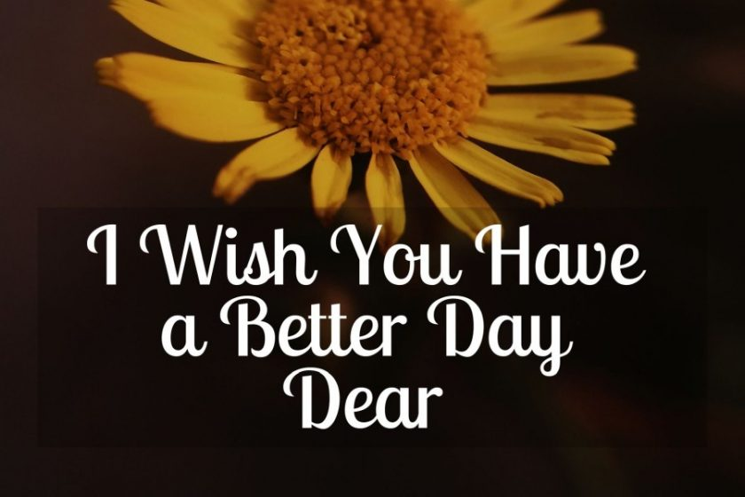 I Wish You Have a Better Day Dear